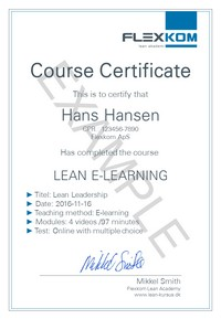 Lean E-learning course certificate
